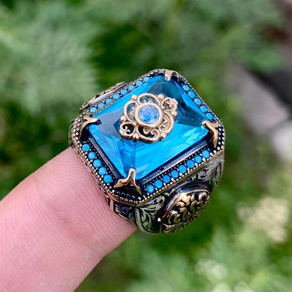 Turkish Rings Luxury 925 Silver 5 natural gemstones pakistan + 925 silver jewelry online