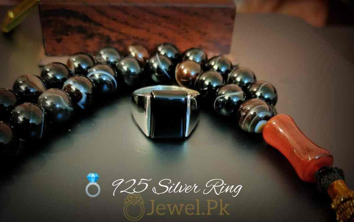 Very Decent Black Aqeeq Ring for man Decent and Beautiful 1 natural gemstones pakistan + 925 silver jewelry online