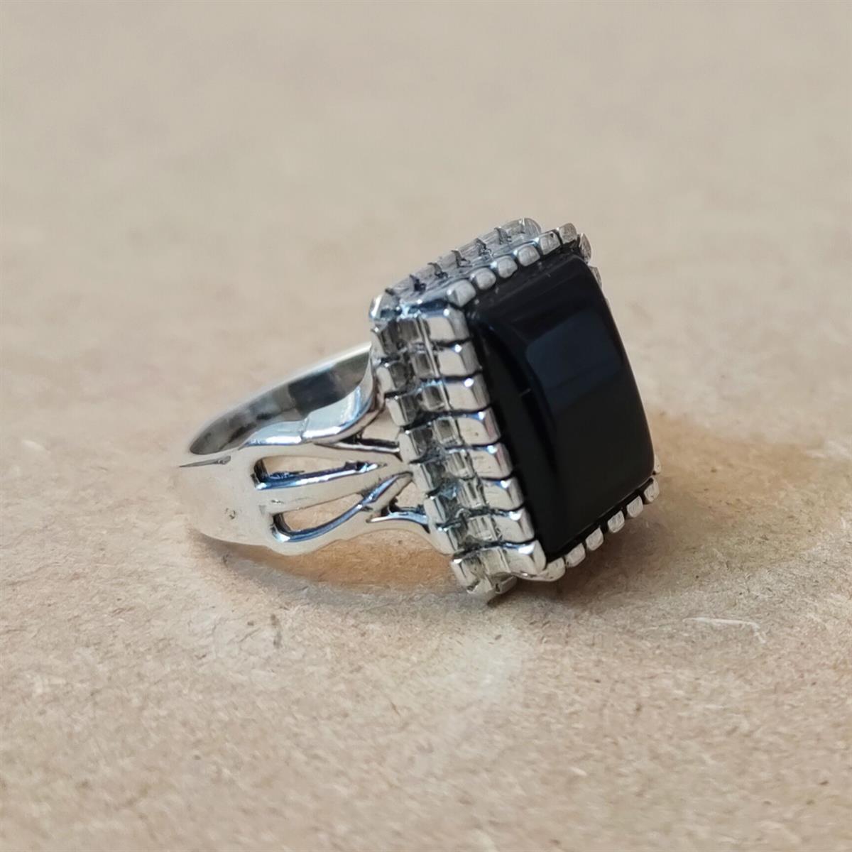 Black Aqeeq Beautiful Ring 3 natural gemstones pakistan + 925 silver jewelry online