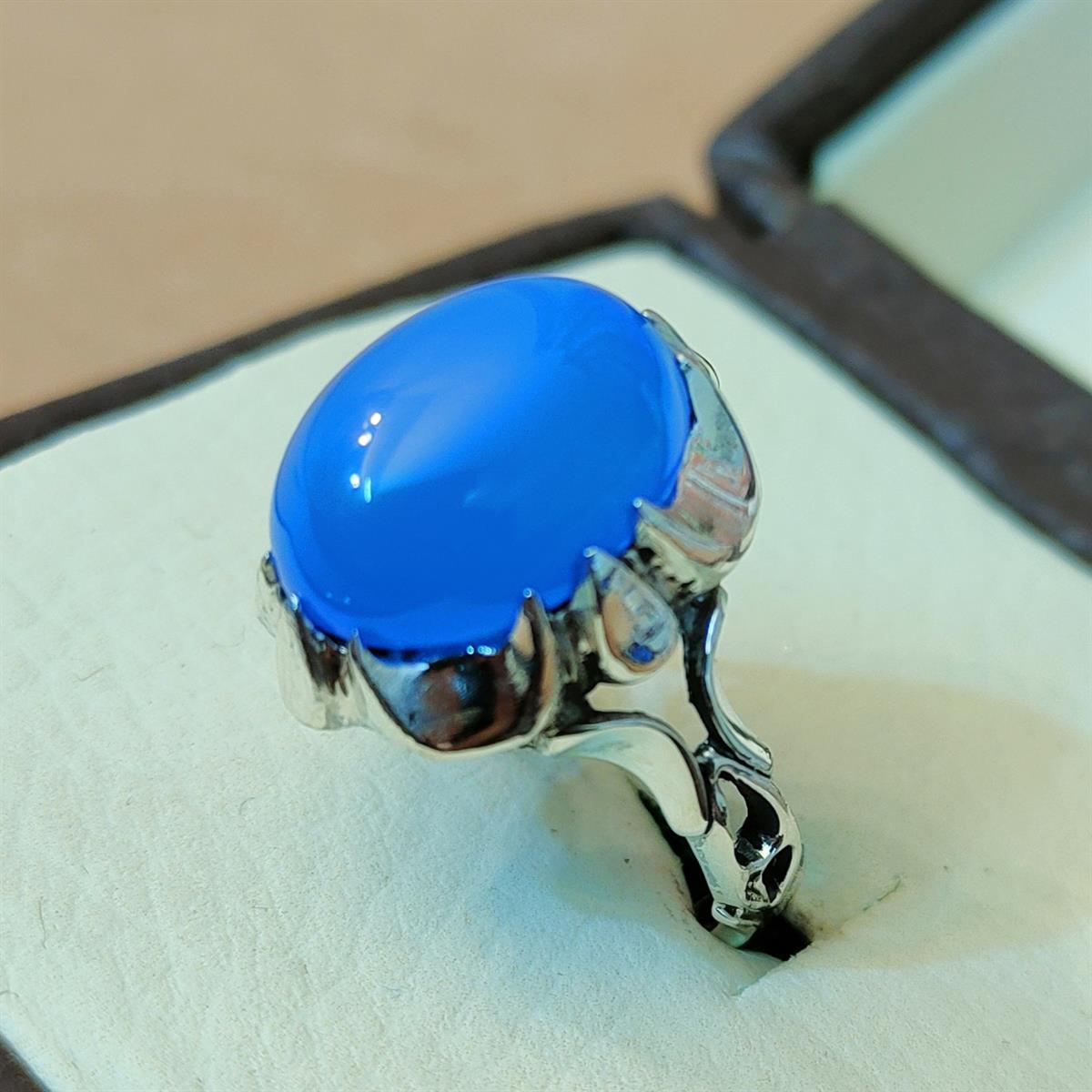 blue aqeeq ring