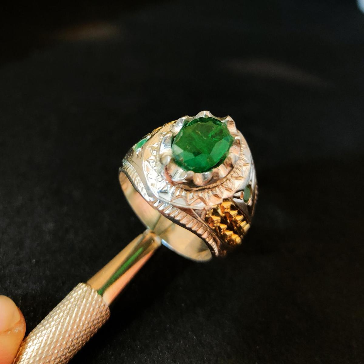 Natural Emerald Ring Handmade 925 Silver Zambian Emerald Zamurd Ring 11 natural gemstones pakistan + 925 silver jewelry online