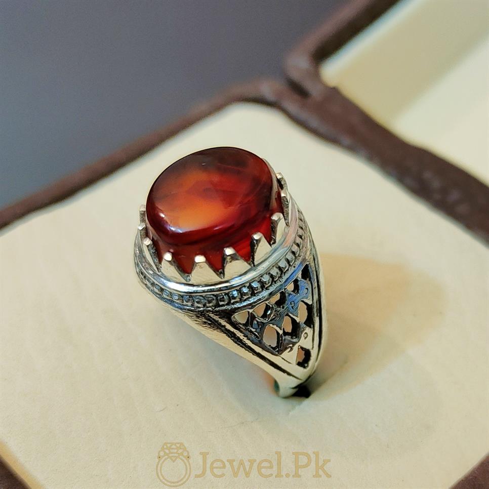 Aqeeq Ring - Irani - Yemini Aqeeq Agate stone - Red Brown Color