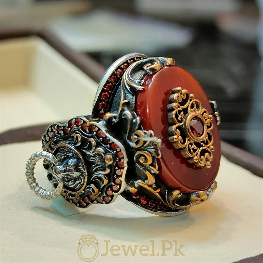 Turkish Ring Master Piece 3 natural gemstones pakistan + 925 silver jewelry online