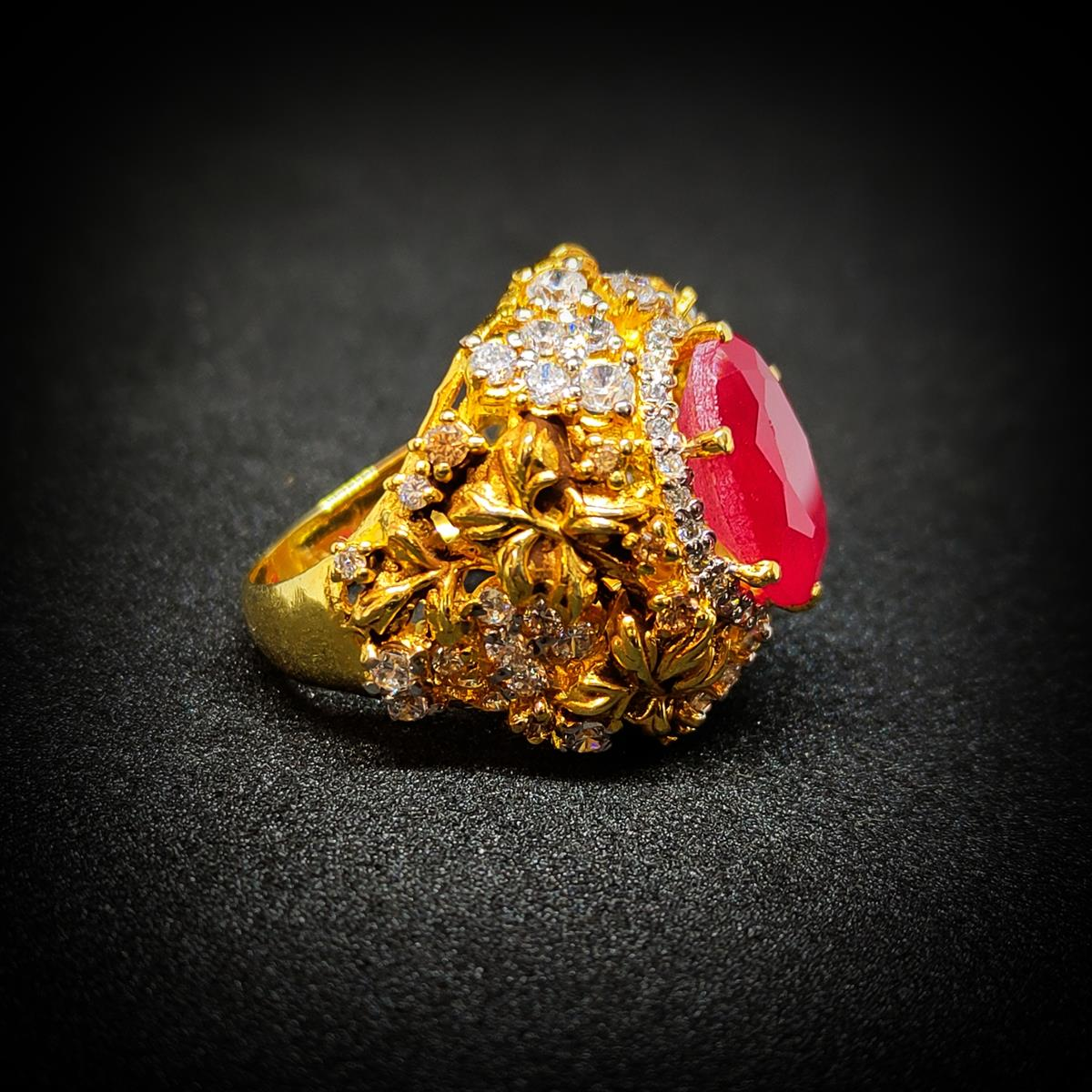 Gold Plated 925 Silver Ring Italian 7 natural gemstones pakistan + 925 silver jewelry online