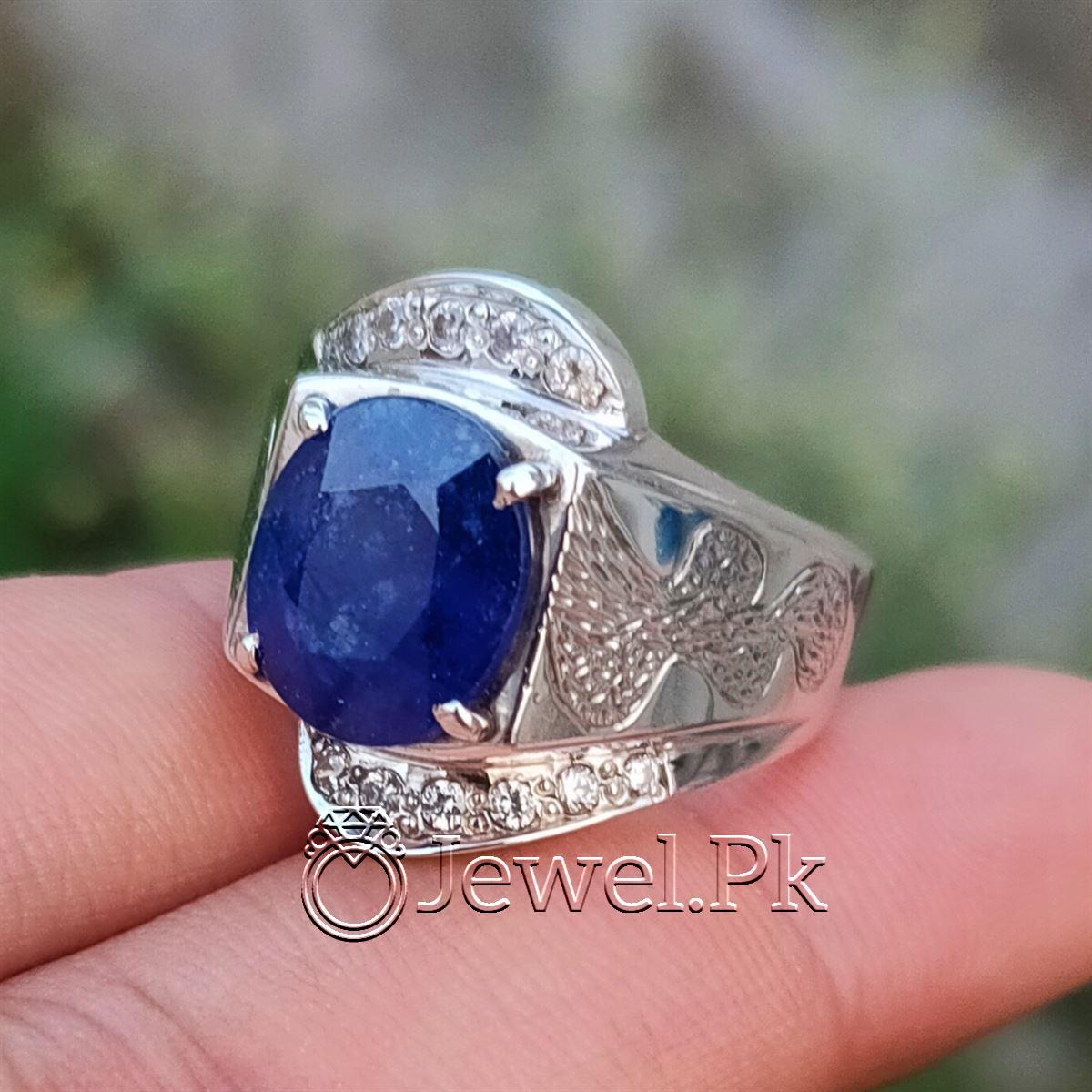Natural Blue Sapphire Ring 925 Silver Chandi Handmade 3 natural gemstones pakistan + 925 silver jewelry online