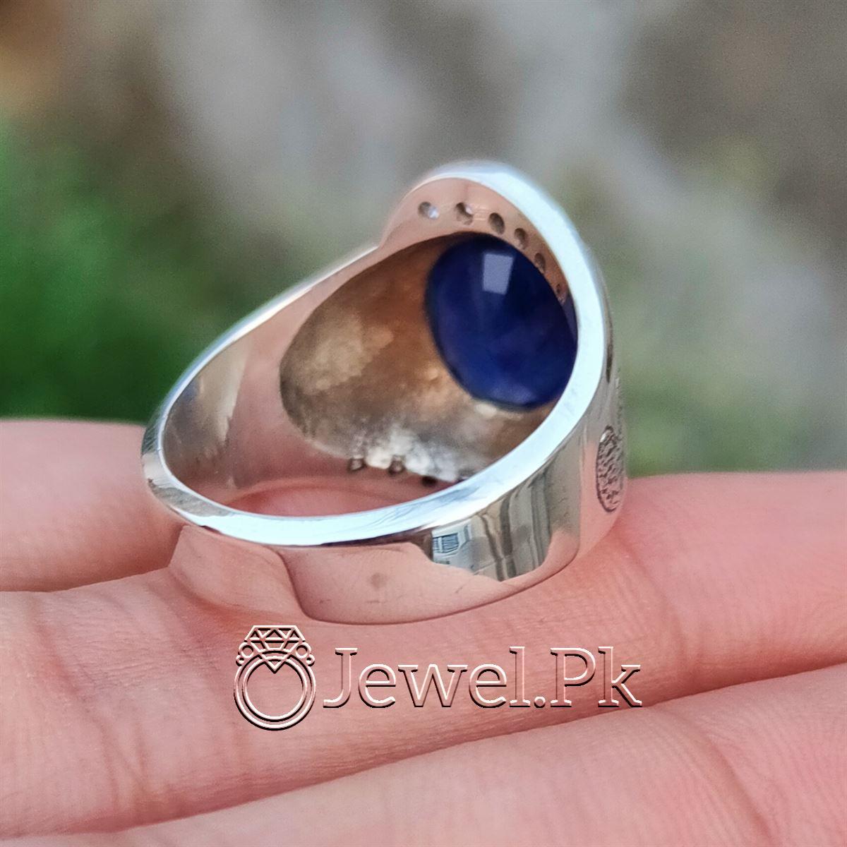 Natural Blue Sapphire Ring 925 Silver Chandi Handmade 5 2 natural gemstones pakistan + 925 silver jewelry online