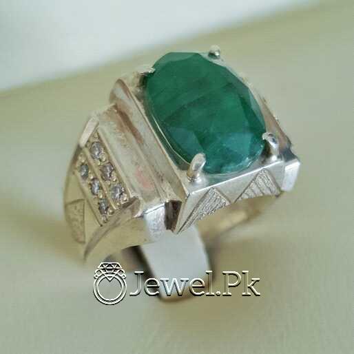 Natural Emerald Zamurd Stone with Pure Silver 925 Chandi 18 natural gemstones pakistan + 925 silver jewelry online