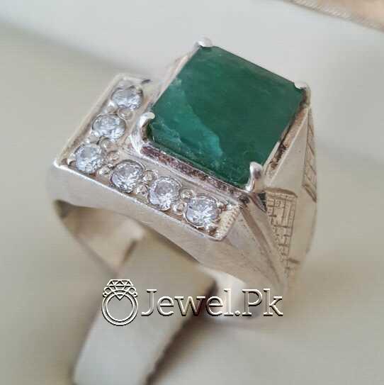 Natural Emerald Zamurd Stone with Pure Silver 925 Chandi 25 natural gemstones pakistan + 925 silver jewelry online
