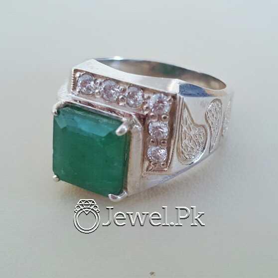 Natural Emerald Zamurd Stone with Pure Silver 925 Chandi 27 natural gemstones pakistan + 925 silver jewelry online