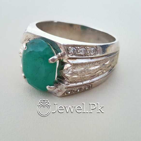 Natural Emerald Zamurd Stone with Pure Silver 925 Chandi 29 natural gemstones pakistan + 925 silver jewelry online