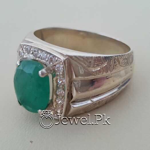 Natural Emerald Zamurd Stone with Pure Silver 925 Chandi 8 natural gemstones pakistan + 925 silver jewelry online