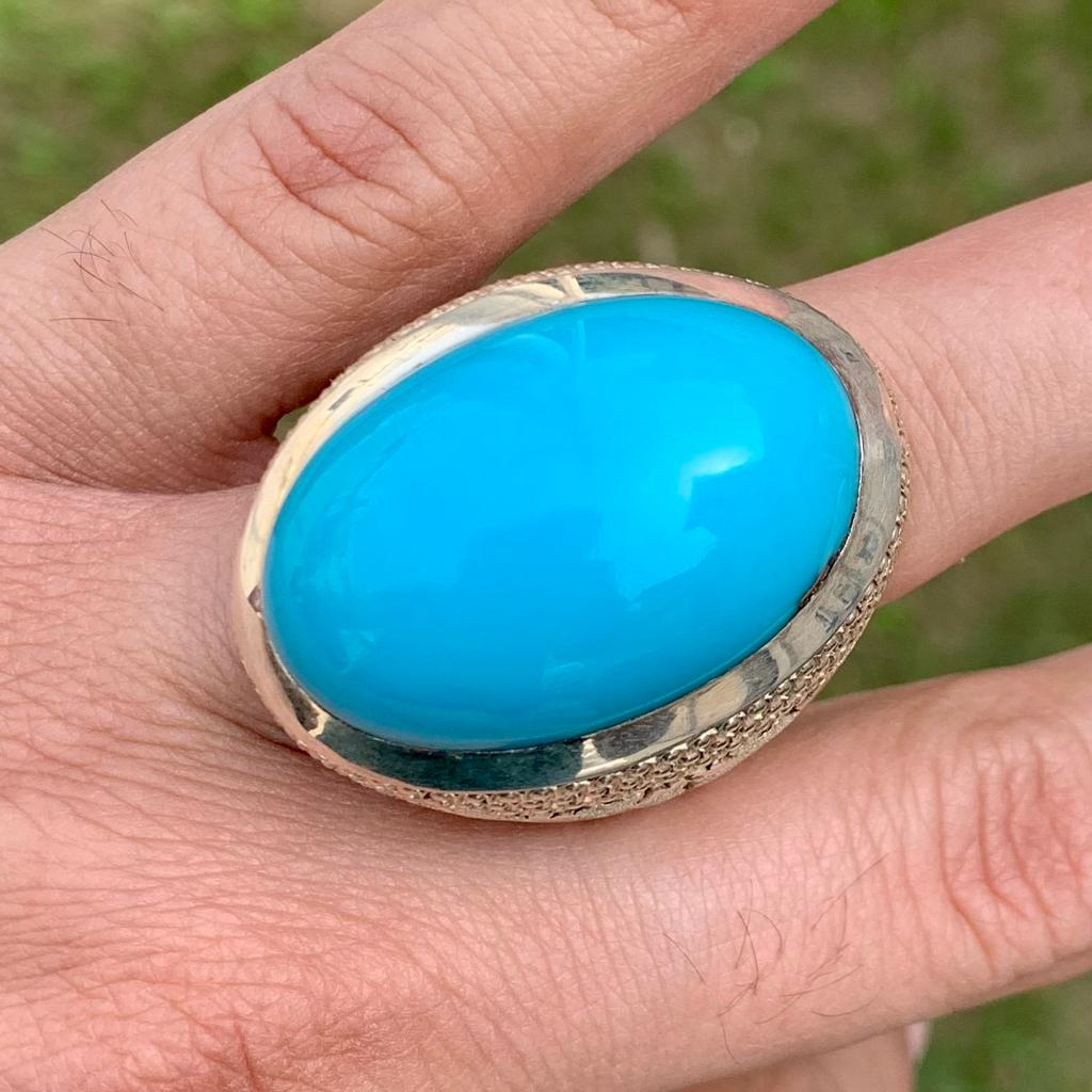 Natural Turquoise Ring Master Piece Ring 5 natural gemstones pakistan + 925 silver jewelry online