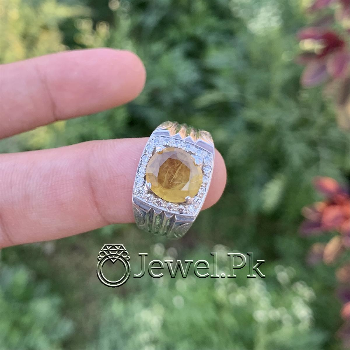 Natural Yellow Sapphire Ring Pukhraj Ring in Silver 925 1 natural gemstones pakistan + 925 silver jewelry online