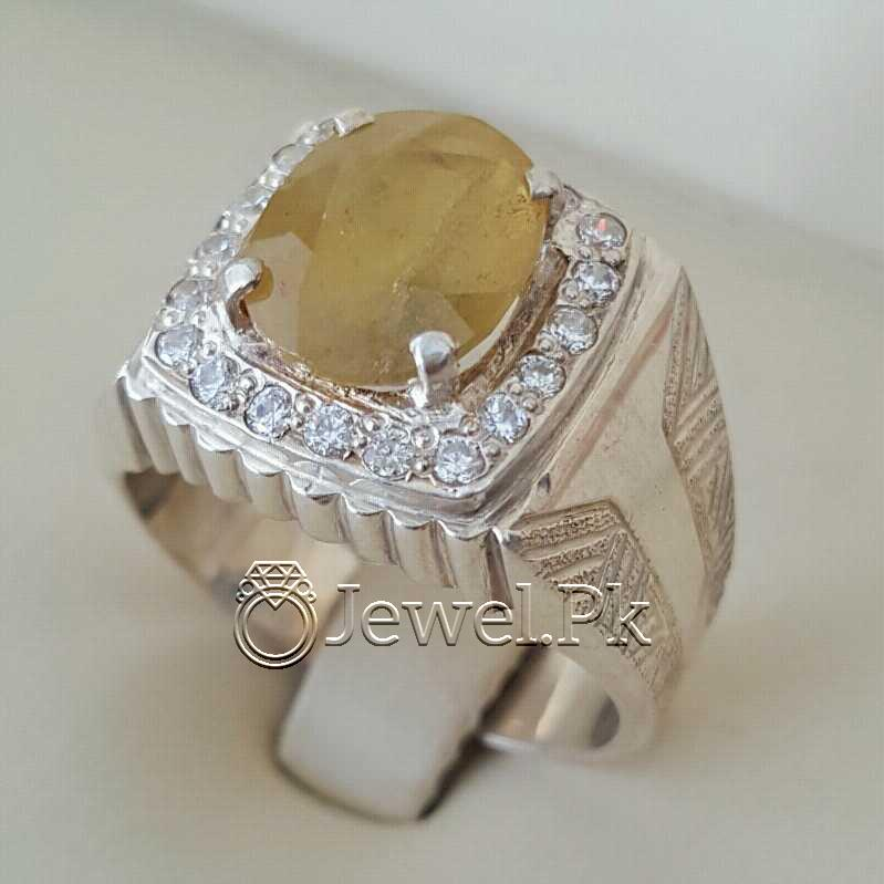Real Silver 925 Chandi with Natural Yellow Sapphire Pukhraj Stone 1 natural gemstones pakistan + 925 silver jewelry online