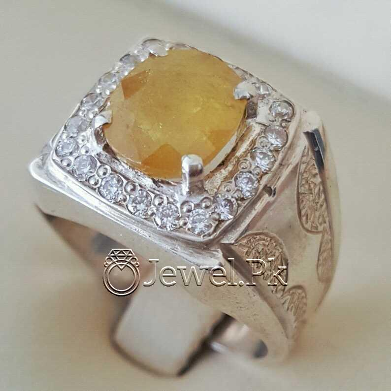 Real Silver 925 Chandi with Natural Yellow Sapphire Pukhraj Stone 14 natural gemstones pakistan + 925 silver jewelry online