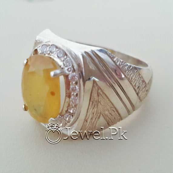 Real Silver 925 Chandi with Natural Yellow Sapphire Pukhraj Stone 18 natural gemstones pakistan + 925 silver jewelry online