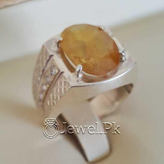 Real Silver 925 Chandi with Natural Yellow Sapphire Pukhraj Stone 20 natural gemstones pakistan + 925 silver jewelry online