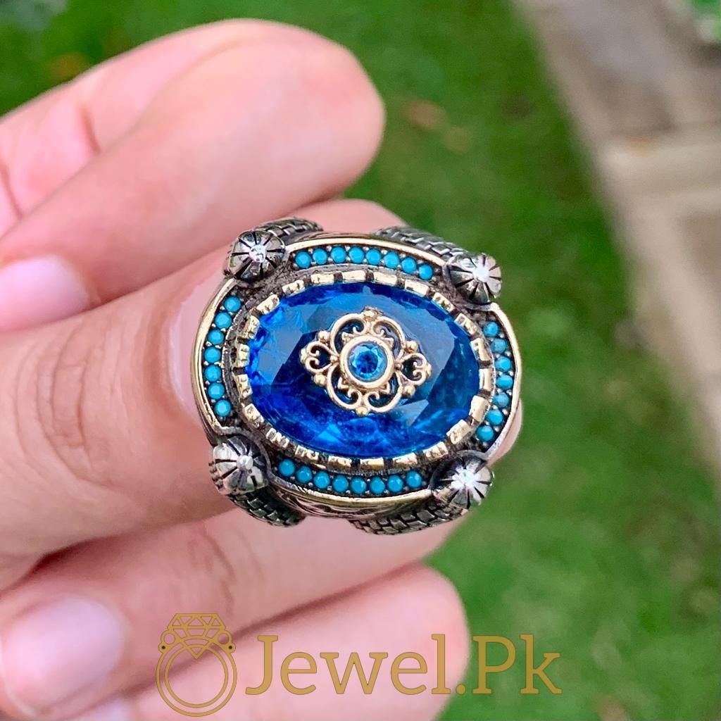 Turkish Rings Ottoman Ring Buy online Silver 925 Turkish Ring 15 natural gemstones pakistan + 925 silver jewelry online