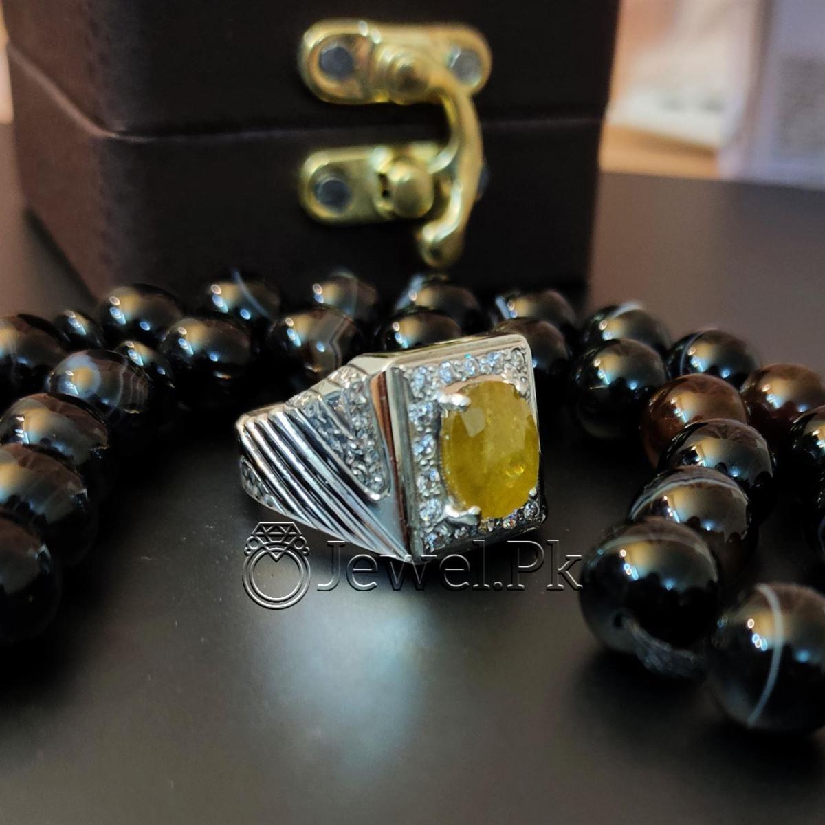 Yellow Sapphire Pukhraj Ring Handmade Silver 925 Chandi 9 natural gemstones pakistan + 925 silver jewelry online