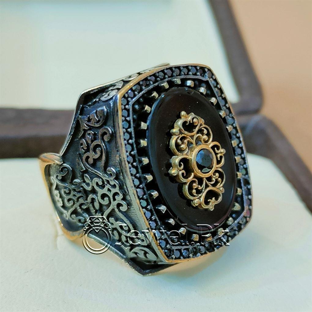 Amazing Turkish Ring 925 Silver VEry Big 4 natural gemstones pakistan + 925 silver jewelry online