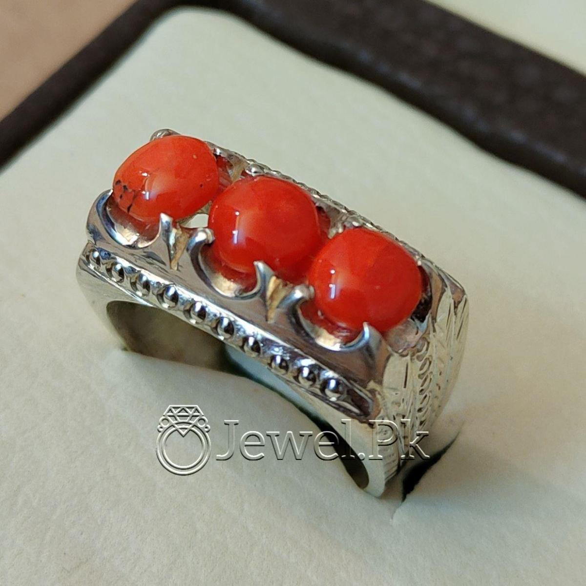 Natural Coral Marjan Ring Handmade 925 Silver Marjan stone 3 natural gemstones pakistan + 925 silver jewelry online