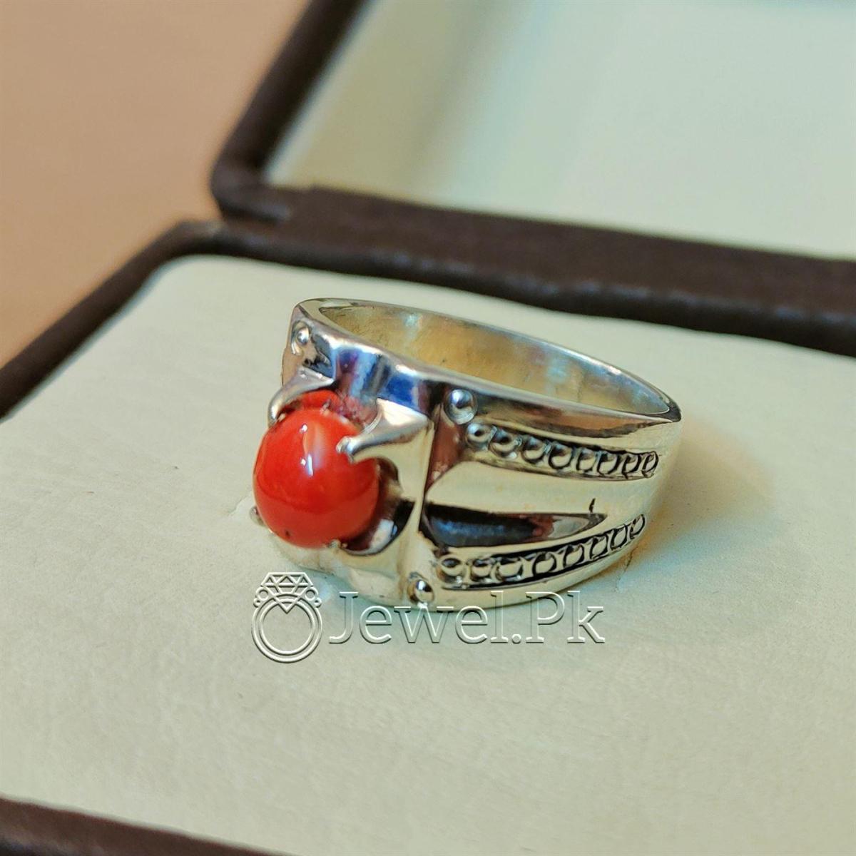 Natural Coral Marjan Ring Handmade 925 Silver Marjan stone 5 natural gemstones pakistan + 925 silver jewelry online