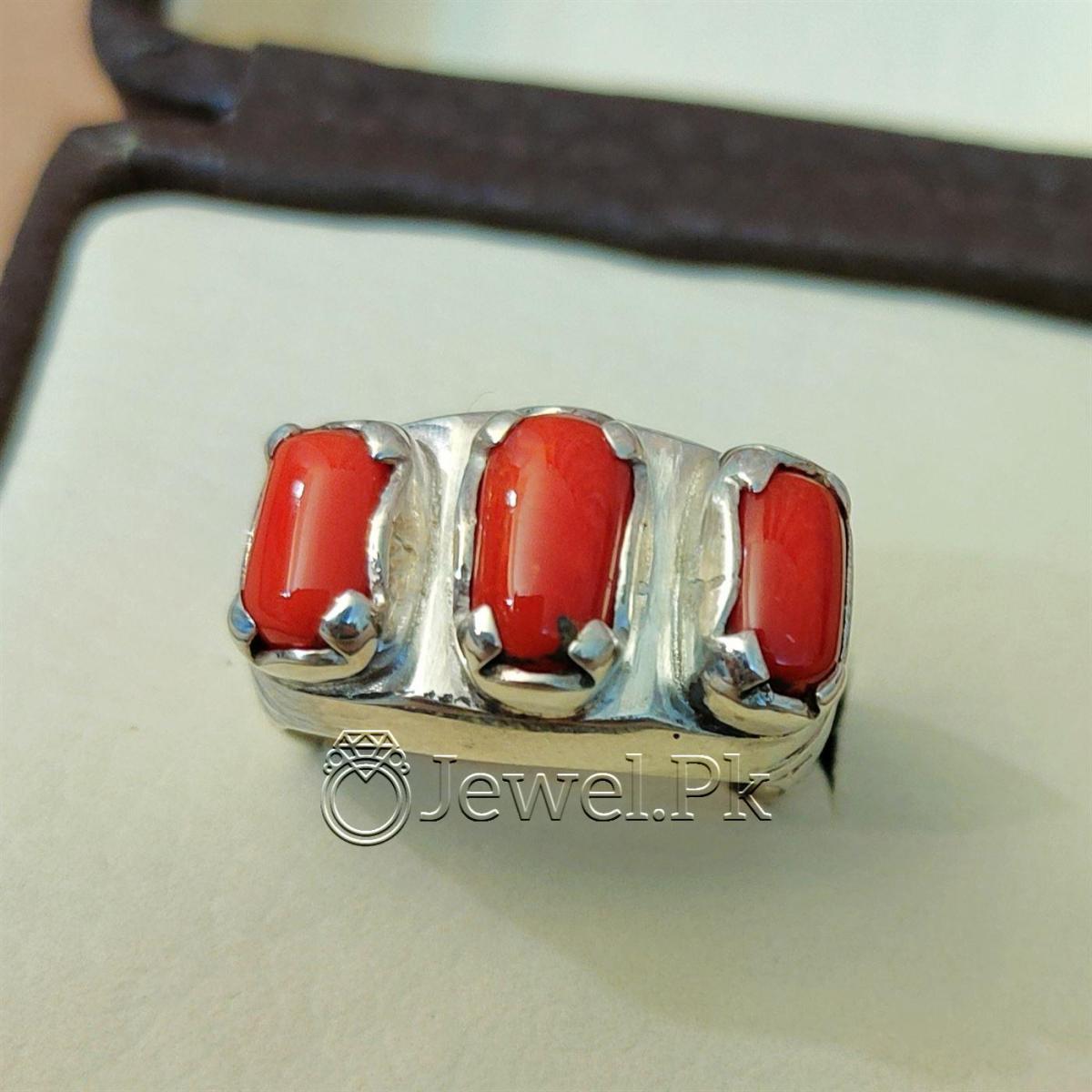 Natural Coral Marjan Ring Handmade 925 Silver Marjan stone 9 natural gemstones pakistan + 925 silver jewelry online