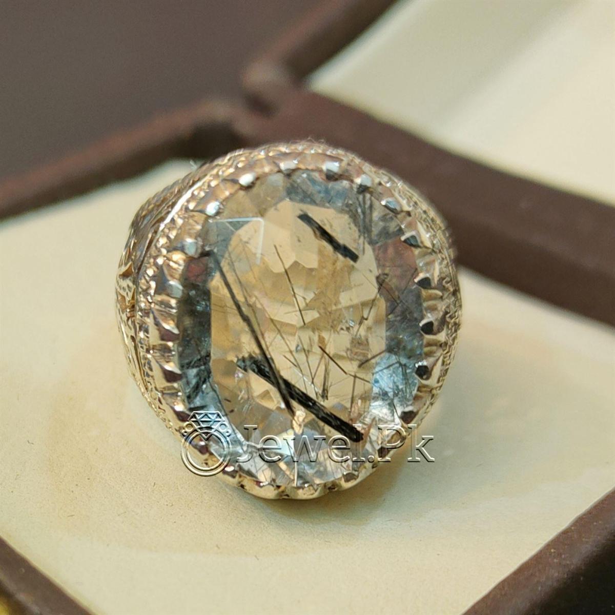 Natural Moh e Najaf Gemstone Ring 925 Silver Handmade Chandi ring mohe najaf Rutile Quartz Stone 5 1 natural gemstones pakistan + 925 silver jewelry online
