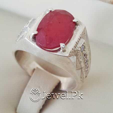 Real Silver 925 Chandi with Natural Ruby Yaqoot Stone 28 natural gemstones pakistan + 925 silver jewelry online