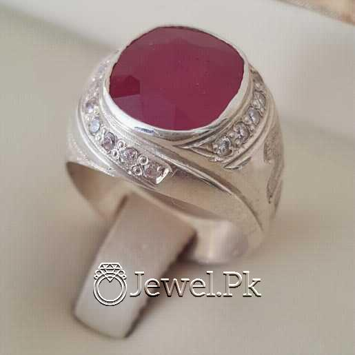 Real Silver 925 Chandi with Natural Ruby Yaqoot Stone 3 natural gemstones pakistan + 925 silver jewelry online