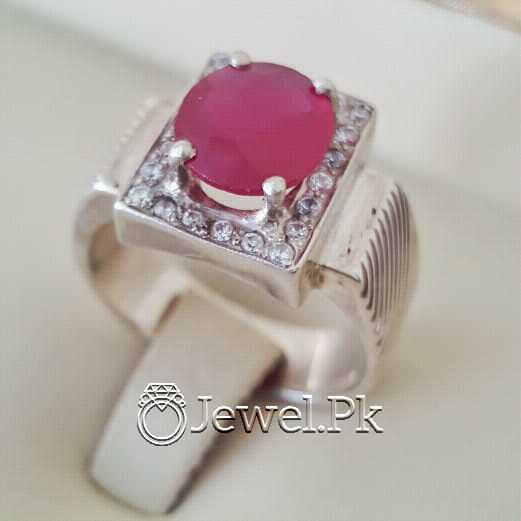 Real Silver 925 Chandi with Natural Ruby Yaqoot Stone 32 natural gemstones pakistan + 925 silver jewelry online