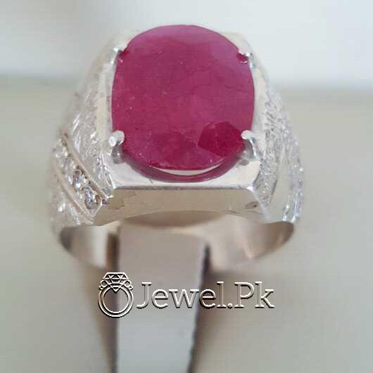 Real Silver 925 Chandi with Natural Ruby Yaqoot Stone 33 natural gemstones pakistan + 925 silver jewelry online