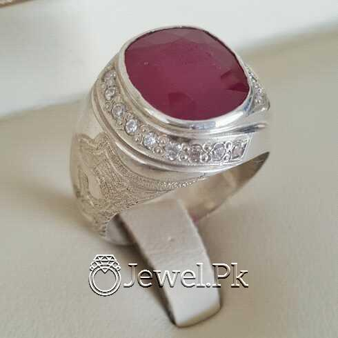 Real Silver 925 Chandi with Natural Ruby Yaqoot Stone 4 natural gemstones pakistan + 925 silver jewelry online