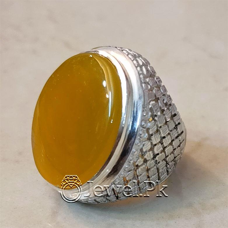 Yellow Agate Heavy Handmade Ring Silver 925 1 natural gemstones pakistan + 925 silver jewelry online