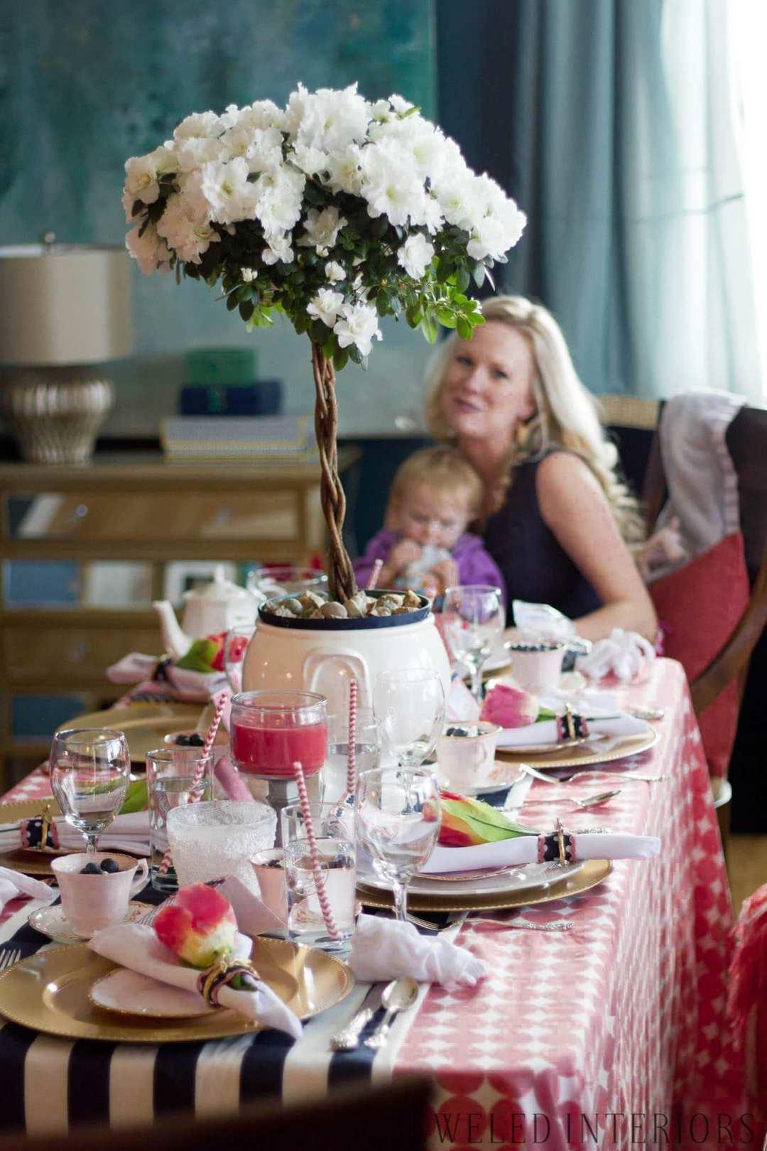 Vintage Tea party Tablescape, Jeweled Interiors, stripe, polka dot, blue, walls, azalea tree, paper straws