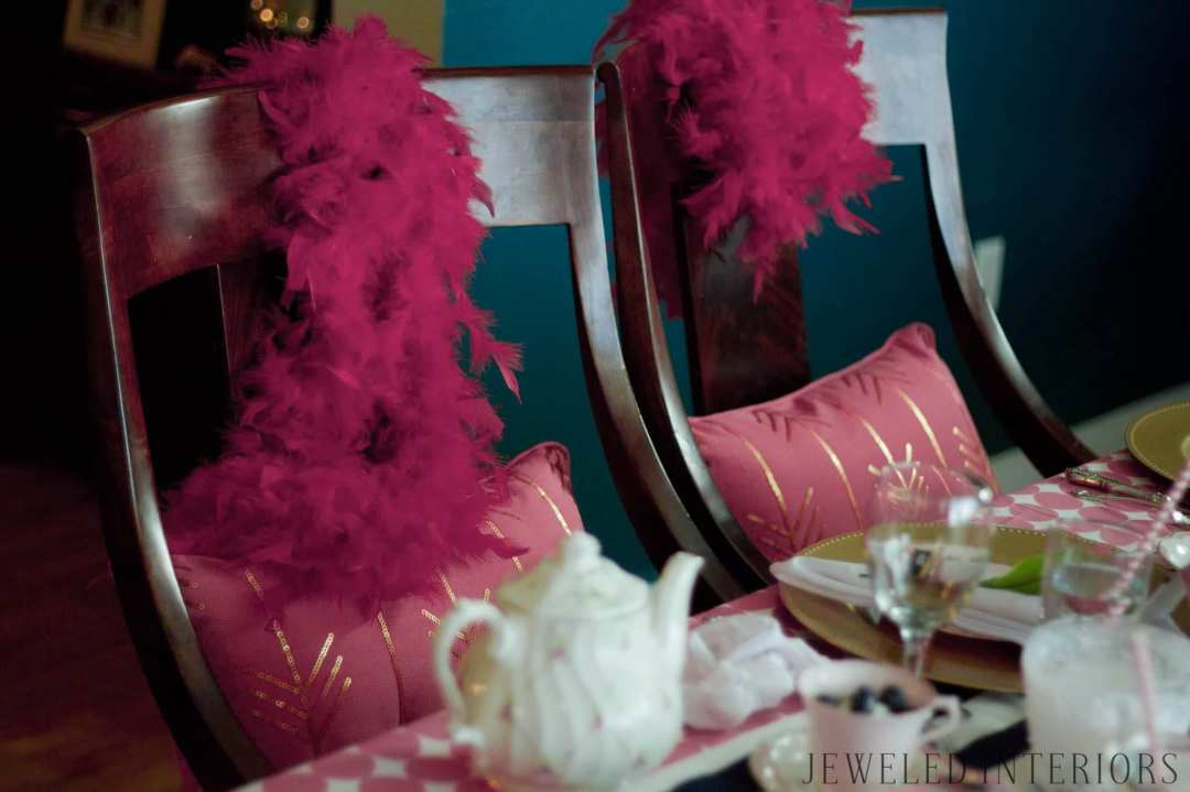 Jeweled Interiors, tea party, costumes, feather boa, pink, navy, tea pot, flower