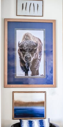 buffalo, snow, bronze, sagebrush art, shadow box, gold, Jeweled Interios, jeweledinteriors.com, military, base, house, velvet, couch, navy, silver, gold, cowhide, lamp, art, commander, leather, curtains, jute, end table, coffee table, horse, cow, wood, crystal, host,  Air Force, Key Spouse, Wing, commander, rustic, glam, books, idaho