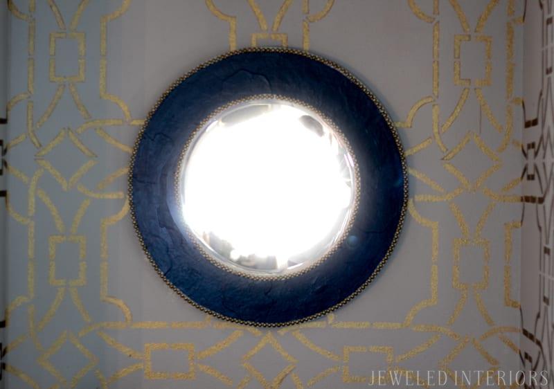 mirror, gold, stencil, dining room, formal, party, blue, white, china, silver, centerpiece, gold, bird, flowers, navy, shelfie, shelf, antique, obama, photo