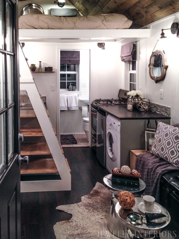Tiny Home, Tiny House, Jeweled Interiors, Porch, Kitchen, Living Room, Bedroom, Kitchen, Wheels, Loft, Decorate, Design, beautiful, stunning, rustic, chic, polished, mirror, bedding, bed, couch, wood, aluminum, backsplash,