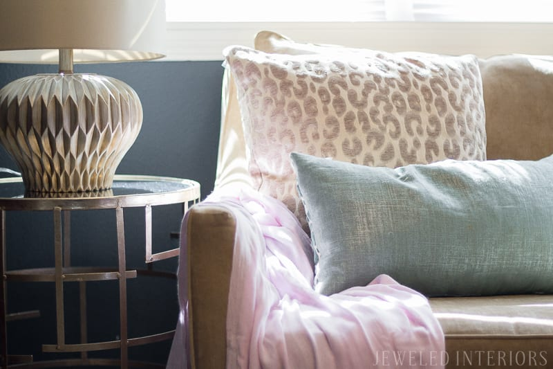 dark, moody, navy, leopard, linen, gold, DIY, art, beautiful, jeweledinteriors, jeweled interiors, flowers, night stand, faux fur, animal print, wood grain, lamp, chocolate, tan, neutrals, blue,  statue, horse, bamboo, glam, pink, blush