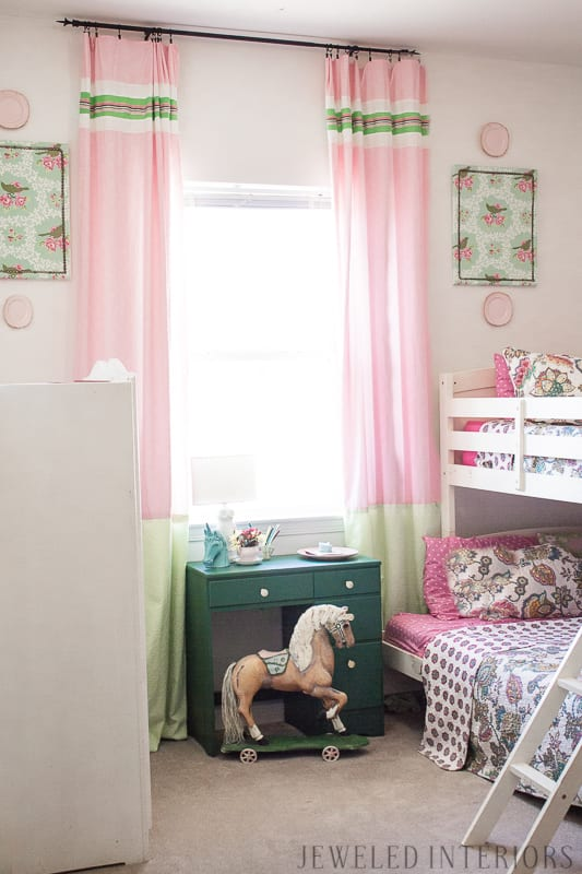 little, girl, girl's, girls', room, bedroom, timeless, classic, traditional, rocking horse, bunk, bed, desk, wardrobe, dresser, bookcase, sofa, settee, curtains, inexpensive, linens, pillow, nancy drew, tea cup, china, White House, Easter Egg Roll, beautiful, feminine, functional, sentimental, flowers, art, supplies, cork, board, heather bailey,