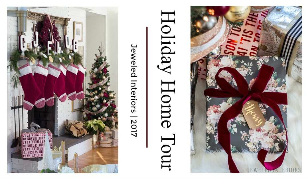 Jeweled Interiors Holiday Home Tour 2017 | Burgundy + Blush Christmas Decor Ideas and Tips