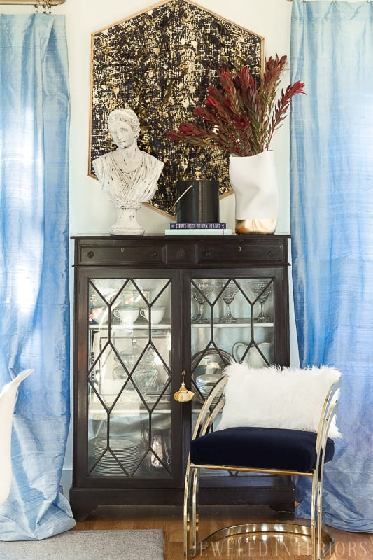 ECLECTIC DECOR IDEAS | Jeweledinteriors One Room Challenge BIG REVEAL ||  ORC, One Room Challenge, House Beautiful, Jeweled Interiors, Big reveal, week 7, blushingly romantic, great-room, dining room, make-over, makeover, make, over, beautiful, velvet, silk curtains,  DIY, tutorial, burgundy, blush, colorful, marble,  rug, glass, table, brass, panton chairs,  tablescapes, dramtic, antiques, mid century, MCM, vintage, eclectic, pomegranate