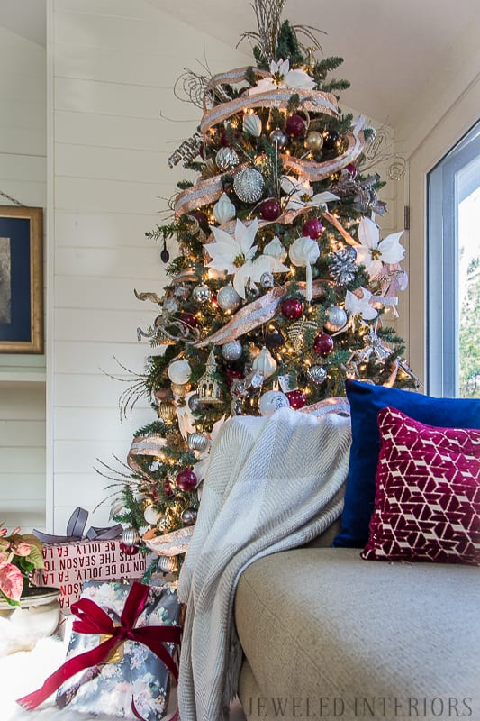 HOLIDAY HOME TOUR REVEAL || THIS TREE|| Looking for inspiration for an eclectic, chic, and glam Christmas? Jeweled Interiors, Holiday, Home Tour, Burgundy, cranberry, blush, Decor, Ideas, Tips, black, Christmas, tree, decor, decorations, DIY, inspiration, red, maroon, wine, home tour, poinsettia, glam, chic, peach, gold, black, white, blue, navy