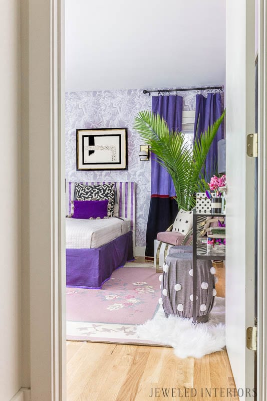 tween, bedroom, teen, teenager, girl, girls', girl's, bed, bedroom, color of the year, Ultra Violet 18-3838, eclectic, 80's, 1980's, Memphis, art, pillows, purple, lavender, lilac, black and white, bedding, tempaper, Tokyo, ace, sconce, brass, gold, bronze, bedskirt, curtains, rug, vintage, chinoiserie, boho, bohemian, stool, vanity, chair, bench, milo baugman, wallpaper, paintable, removable,. New Year New Room Challenge