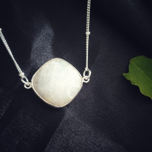Sterling Silver White Moonstone White Small Square Moonstone Necklace Everyday White Necklace Necklace Moonstone White Jewellery Pack Of 1 Necklace Ideal for Women