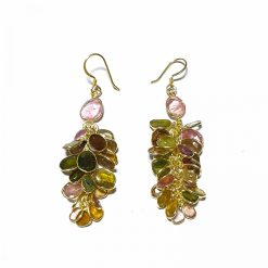 Sterling Silver Multi Tourmaline Chunky Park Earrings Everyday Gold Earrings Earrings Earrings for Women Silver Earrings Pack Of 1 Pair Earrings Ideal for Women