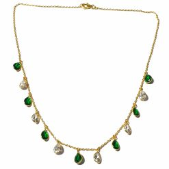 Sterling Silver Green Zircon Light Weight Simplistic Gold Plated Necklace Everyday Necklace for Women Silver Necklace Gold Necklace Light Weight Necklace Pack Of 1 Necklace Ideal for Women