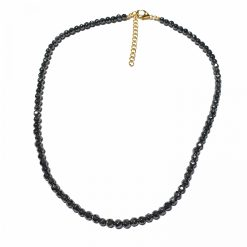 Sterling Silver Black Hematite Simplistic Necklace Contemporary Necklace for Women Silver Necklace Gold Necklace Light Weight Necklace Pack Of 1 Necklace Ideal for Women
