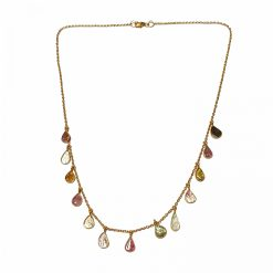 Sterling Silver Multi Color Tourmaline Dainty Leaves Necklace Ethnic Gift for mom gifts Simple Necklace necklace Pack Of 1 Necklace Ideal for Women::Girls